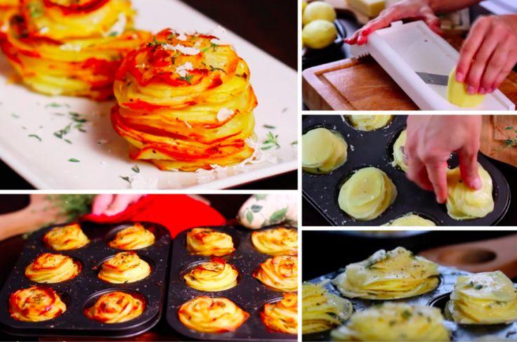 De délicieux millefeuilles de pommes de terre au parmesan