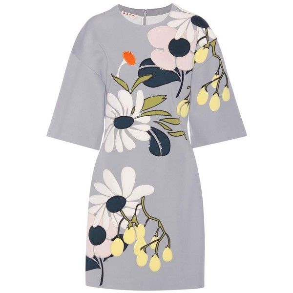 Marni Floral-Patchwork Scuba Dress found on Polyvore featuring dresses, grey, floral print dress, floral dresses, floral pattern dress, floral design dresses and floral printed dress