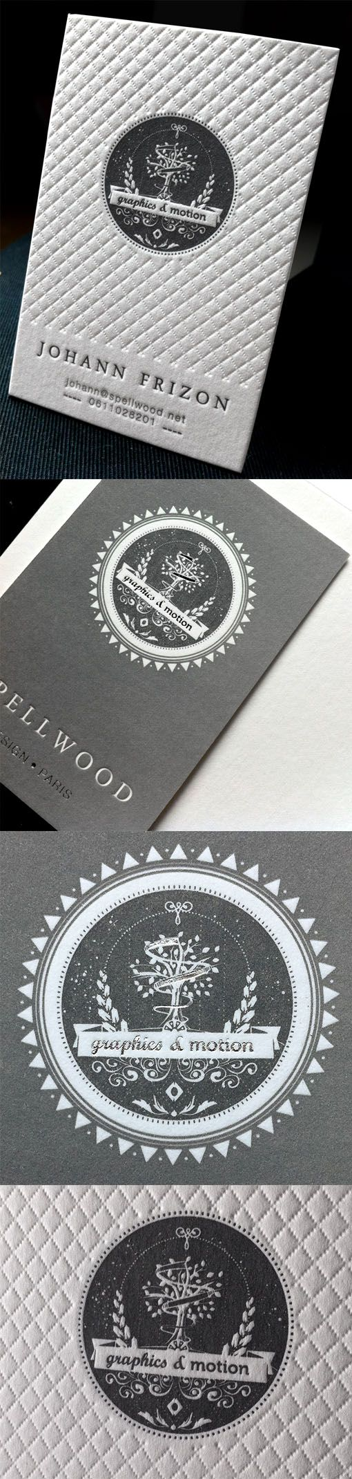 Stylish Textured Black And White Letterpress Business Card Design