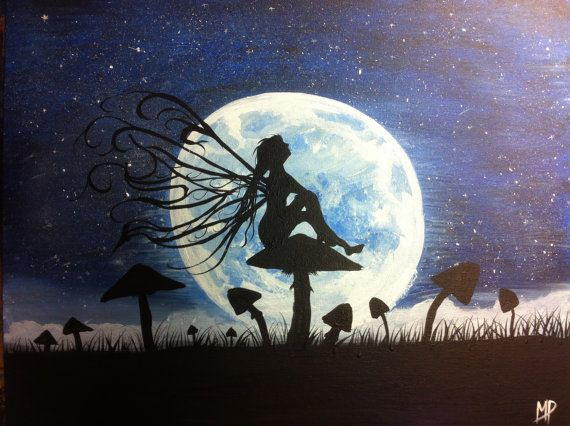A Time To Dream 14 x 18 acrylic on canvas panel by MichaelHProsper, $59.00  Fairy sitting on mushroom