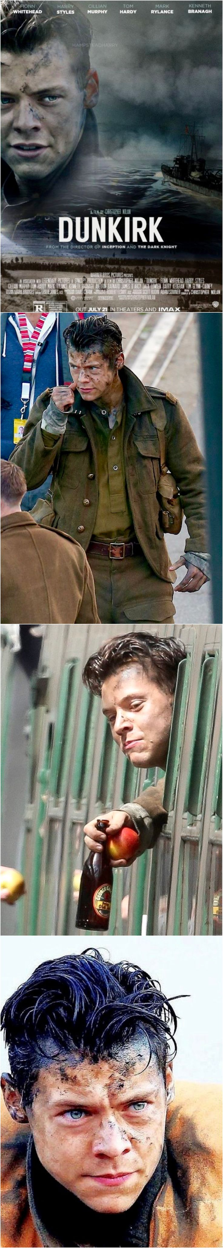 Harry Styles Megapin! Dunkirk starring Harry Styles. Opening in theatres July 21, 2017. Save or Like if you will see Dunkirk because HARRY STYLES is in it! Best Harry Pins at rickysturn/harry_styles
