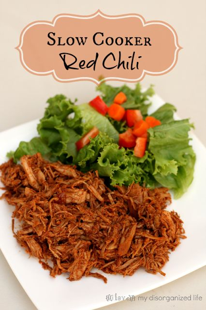 Slow Cooker Red Chil from {i love} my disorganized life