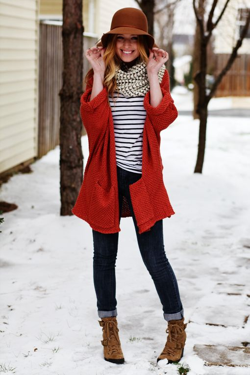 winterRed Sweaters, Winter Style, Winter Looks, Fall Winte, Winter Outfits, Winter Fashion, Stripes, Red Coats, Has