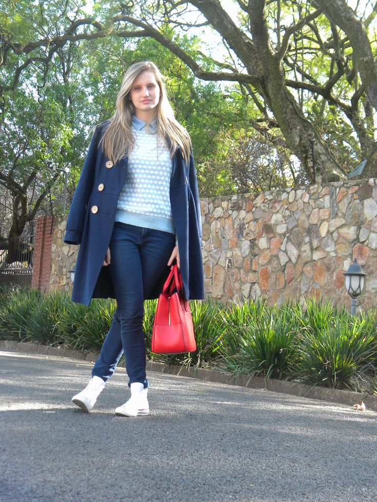 Winter blues with a pop of red