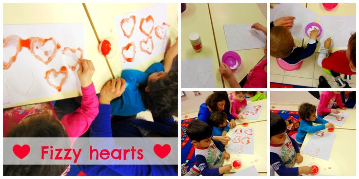 Fizzy hearts art! Yesterday we made hearts with glue and sprinkled soda on them. We left them to dry for an hour and then we added red food colouring in vinegar! We gave to the little ones the eye-droppers and the saw the reaction that the vinegar makes with the soda!