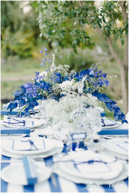 Blue and white table view