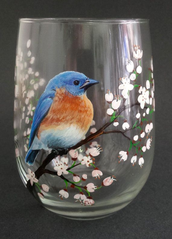 Blue Bird Hand Painted Wine Glass White by LKCustomCreations