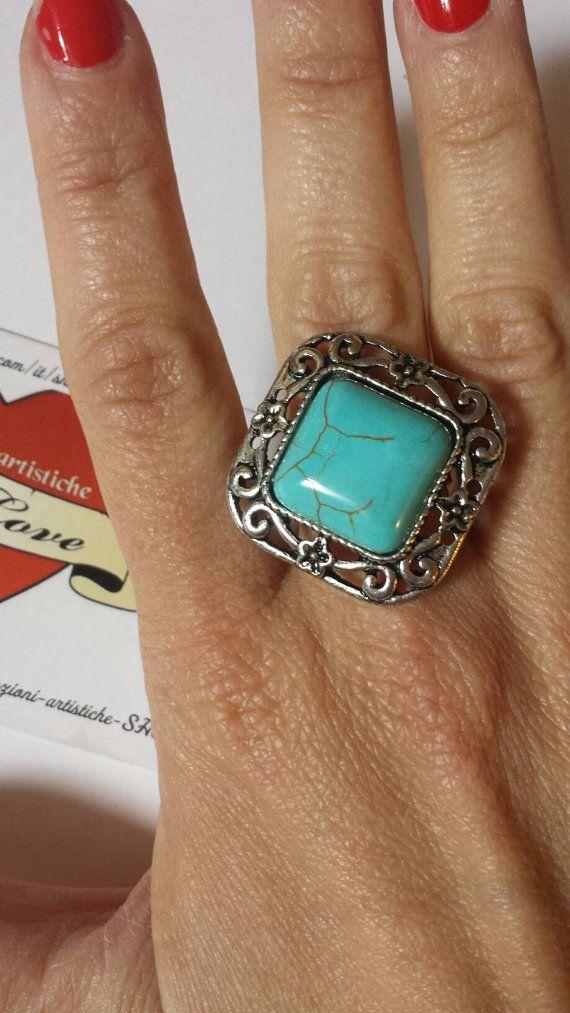 Guarda questo articolo nel mio negozio Etsy https://www.etsy.com/it/listing/266532377/anelli-con-pietra-dura-turchese-e