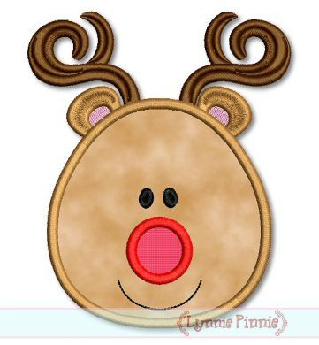 Free Embroidery Designs - Simple Reindeer Face Applique & Mini 4x4 5x7 6x10 SVG - Welcome to Lynnie Pinnie.com! Instant download and free applique machine embroidery designs in PES, HUS, JEF, DST, EXP, VIP, XXX AND ART formats.