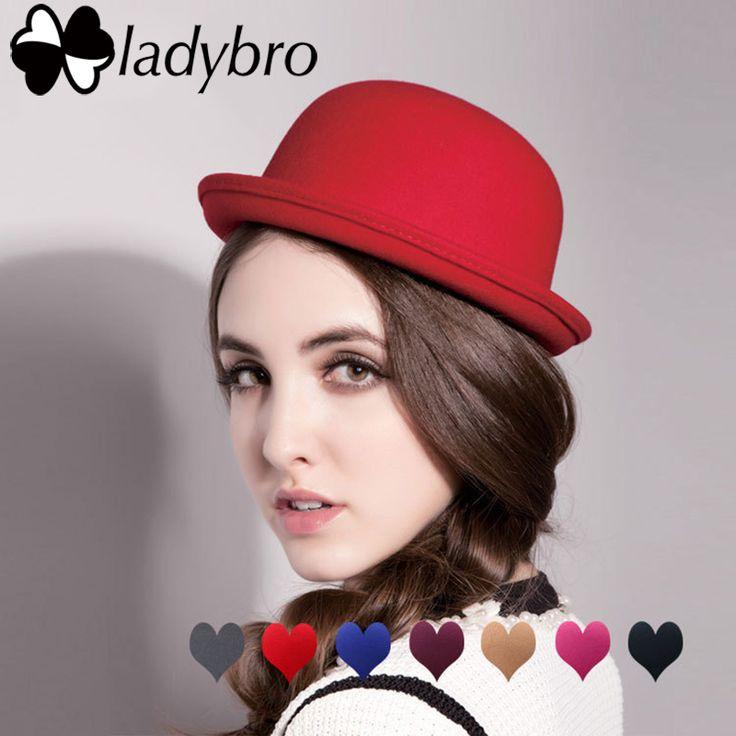 Ladybro Spring Autumn Women Fedora Hat Classical Cap Chapeau Imitation Wool Cap Women's Hats Cute Solid Black Bowler Hat Female