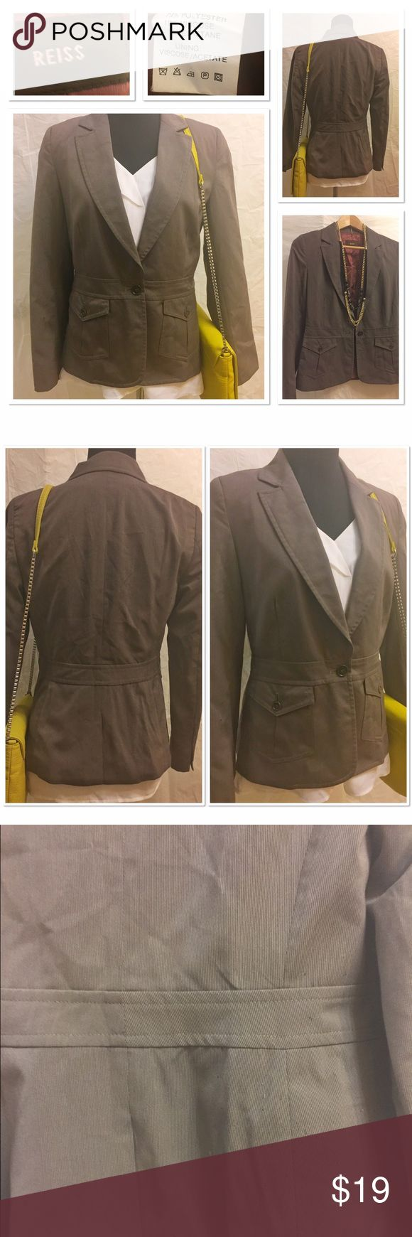 Reiss blazer size Small Reiss blazer size Small. Great condition. There is some signs of wear on the lower back part of the blazer as shown on third photo. Not very noticeable unless you look closely. My guess is it was caused by the shoulder bag. There is this one flow otherwise the jacket is in grey condition. However, you cannot go wrong with this price. Quality is excellent as usual. Reiss is definitely a high end brand. Reiss Jackets & Coats Blazers
