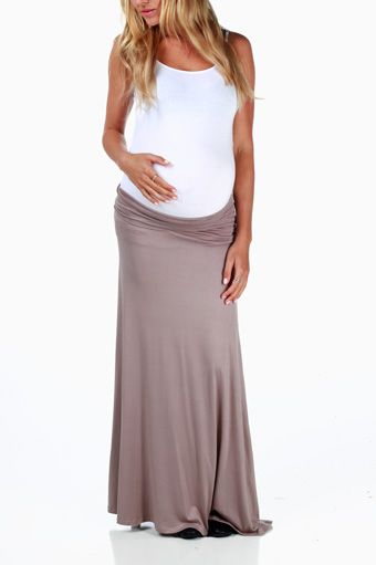 Mocha Basic Maternity Maxi Skirt