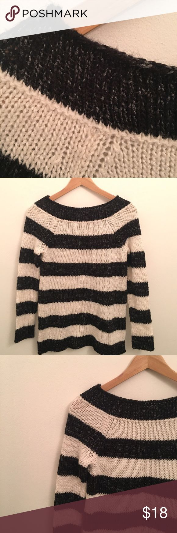 "Ann Taylor Bold Stripe Petite Sweater SP Ann Taylor Bold Stripe Petite Sweater SP. Black/Off White with silvery Metallic thread. Bust: 33""/34"". 37% Acrylic 30% Polyester 28% Wool 4% Mohair. Dry Clean Only ~All items come from a pet and smoke free home~ EUC Ann Taylor Sweaters Crew & Scoop Necks"