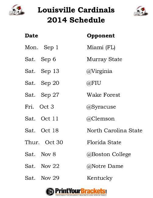 Printable Louisville Cardinals Football Schedule 2014