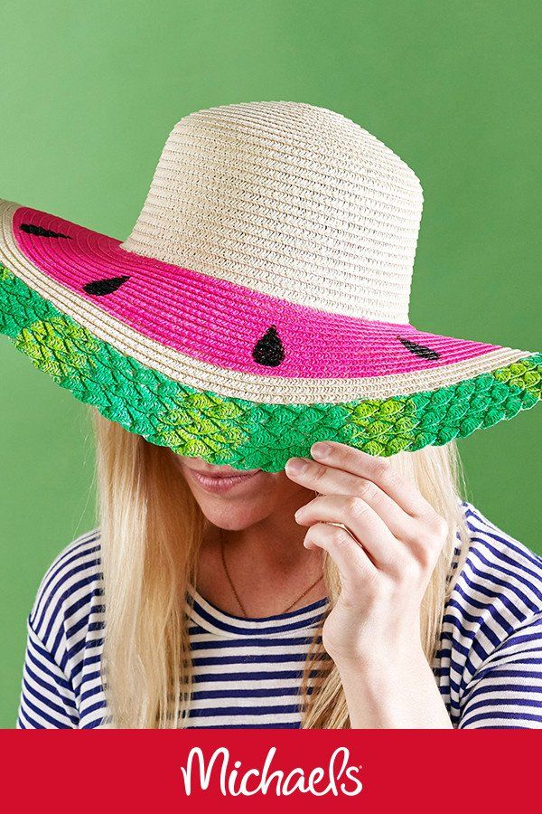 0250e904 Make this watermelon straw hat project it is a great DIY summer floppy hat  craft.