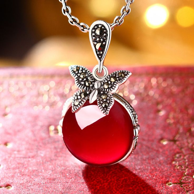 women jewelry Natural semi-precious stones butterfly 925 Sterling Silver pendant women round girlfriend gift cartoon red
