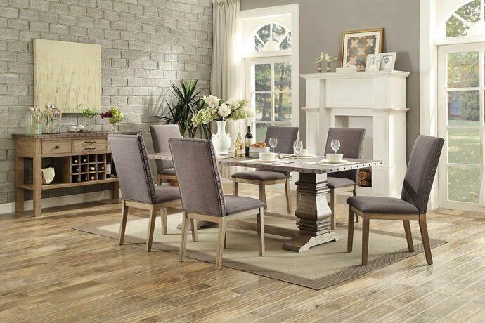 home elegance 5428 84 7 pc anna claire driftwood finish zinc top rh pinterest com