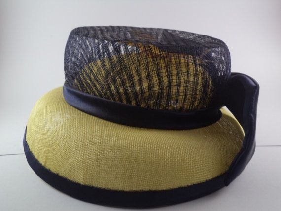 Yellow sinamay hat with bouble crown and by MillinerybyMelissa
