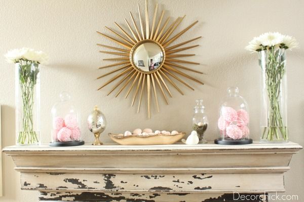 Pretty Spring and Easter Mantel