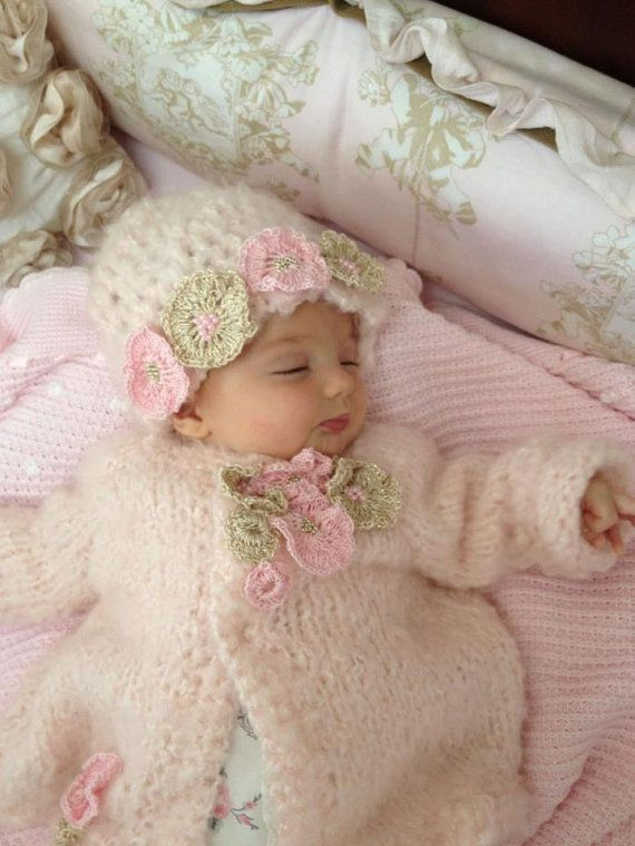 knitted mohair sweater and hat,baby shower gift