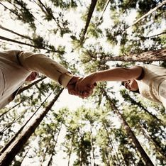 Couple Photo | Outside Photo | Photo taken from below facing up into tall trees. Couple holds hands as they look at each other.