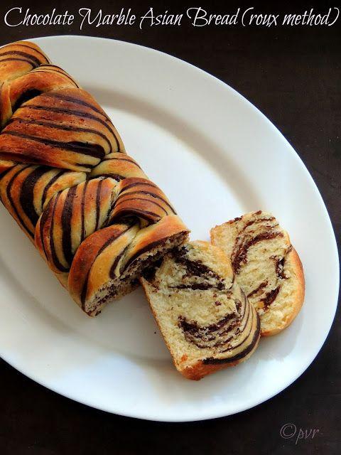 Priya's Versatile Recipes: Chocolate Marble Asian Bread (Roux Method)~~Home Baker's Challenge#4