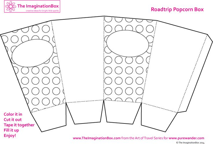 Popcorn box colouring template knutselen pinterest for Popcorn container template