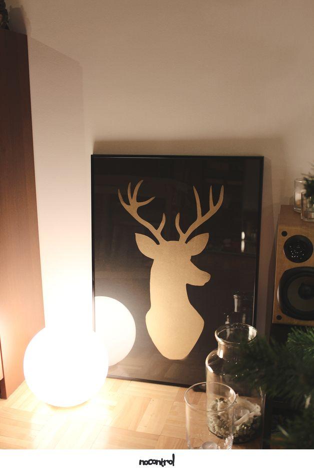 Ręcznie Tworzony Plakat - 100% Handmade - Szablon - 50x70 cm - Złoty Jeleń - nocontrolprints - Ozdoby na ścianę - Dekoracja ścienna