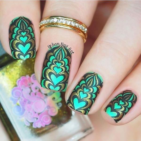 Green stamping plates nail art design | Blogger Collaboration Nail Art Polish Stamping Plates - BM-XL210, Sloteazzy