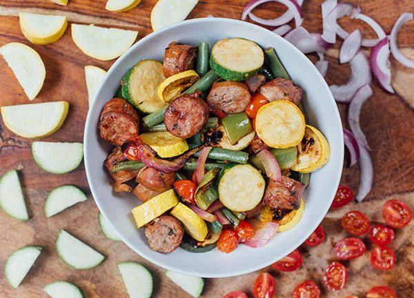 Marinated Summer Veggies with Chicken Sausage (3G, 1R)