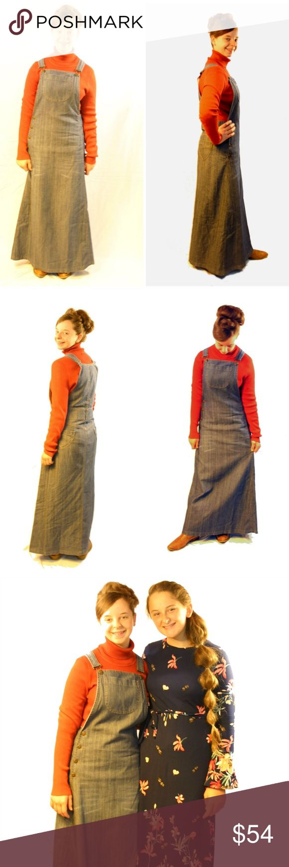 RARE! overall dress. Modest. no splits. Price FIRM RARE! A modest overall dress that is stylish and not frumpy? Yes, Please!! Trendy blue denim wash color. These aren't your granny's old overalls. Modern country girls are going to love this adorable dress. No awkward short length here. These are made to go to long lengths to keep you stylish.  As with all garments sold by Madison & Moriah: no splits! MEDIUM BLUE COLOR SEE LAST PICTURE Madison & Moriah Dresses Maxi
