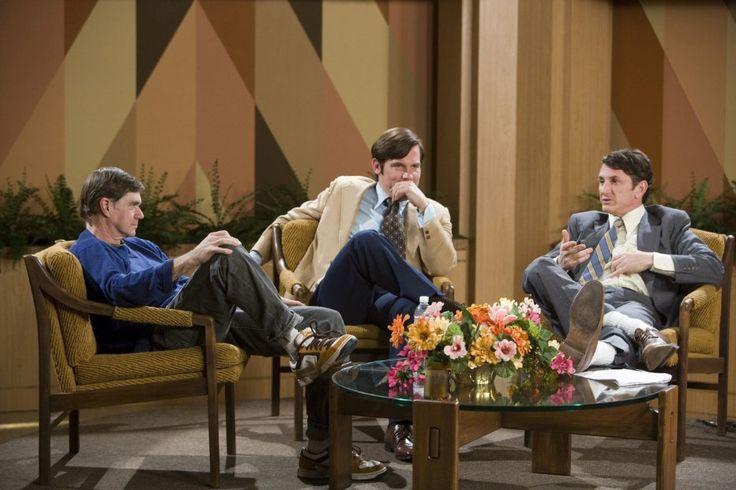 Director Gus Van Sant, Josh Brolin and Sean Penn on the set of Milk.