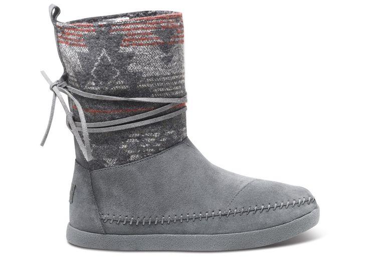 Grey  Suede Jacquard Women's Nepal Boots