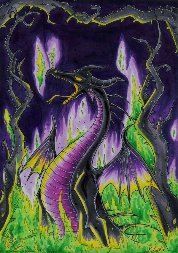 Dragon Villains: Maleficent As A Dragon Surrounded By Forest Of Thorns