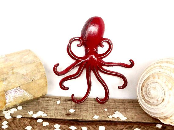 Red Octopus Hook - Nautical Decor - Red Bathroom Decor - Beach Decor - Bathroom…