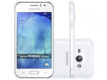 "Smartphone Samsung Galaxy J1 Ace Duos Dual Chip - 3G Câm. 5MP Tela 4.3"" Proc. Dual Core Android 4.4"