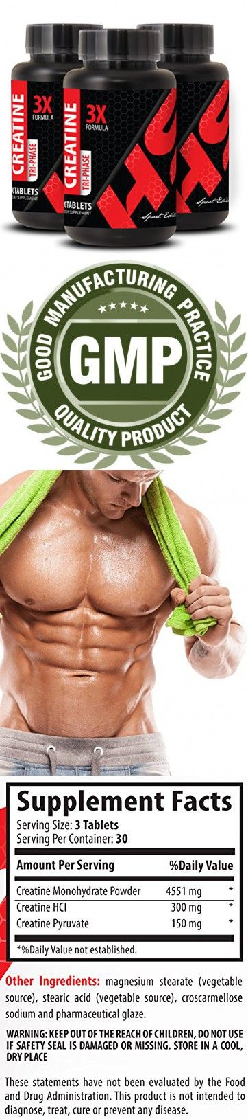 Workout supplements for men - CREATINE 3X POWERFUL FORMULA - Creatine for bodybuilding - 3 Bottles 270 Tablets