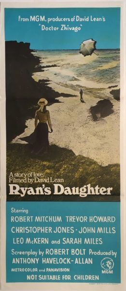 Ryan's Daughter 1970 Australian Daybill movie poster, directed by David Lean, staring John Mills. Available for purchase from our website.
