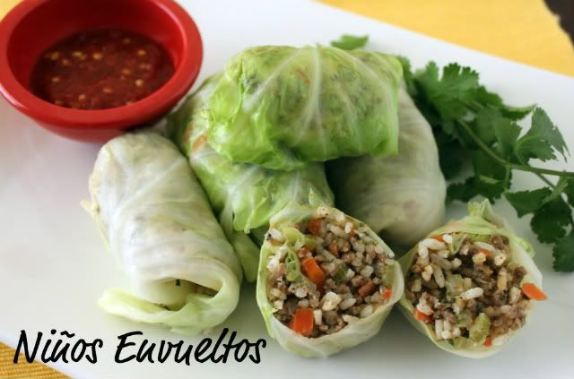 Ninos envueltos - Meat and Rice Cabbage Rollups - www.tstastybits.com