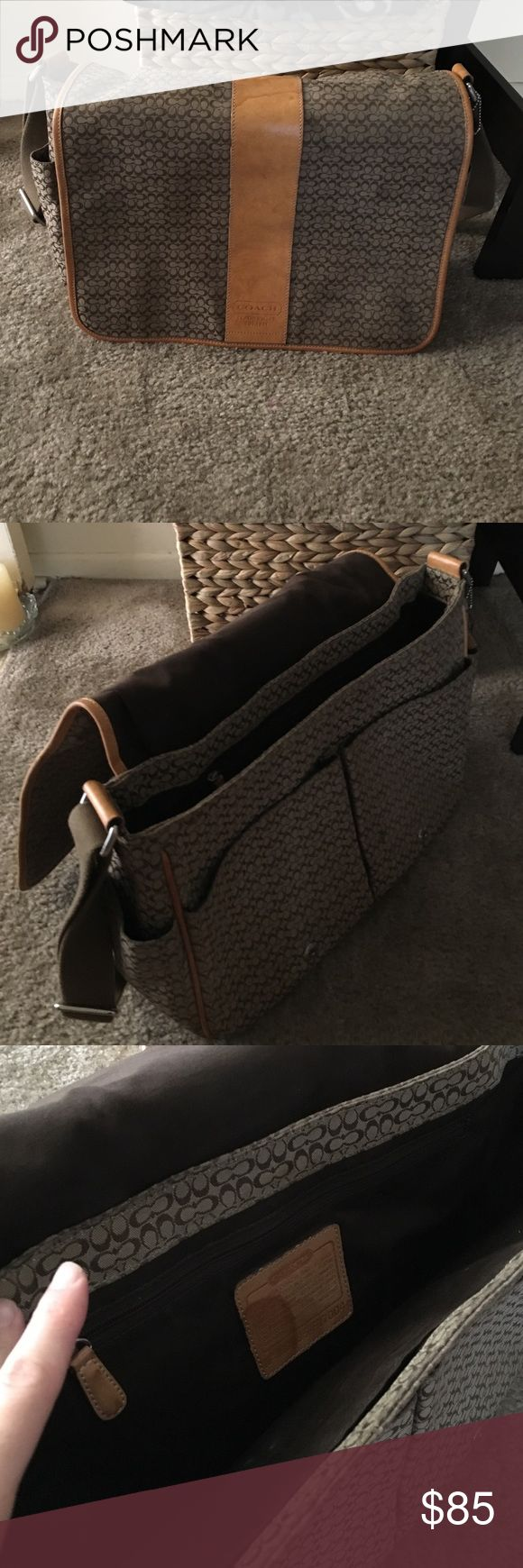 """Coach messenger bag Coach small signature """"c"""" messenger bag. Used for a school bag. Has water stains on the leather but in good condition. Coach Bags Crossbody Bags"""