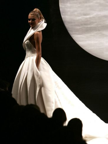 Cristina Chiabotto, Miss Italy 2004, Wears a Creation by Italian Fashion Designer Fausto Sarli