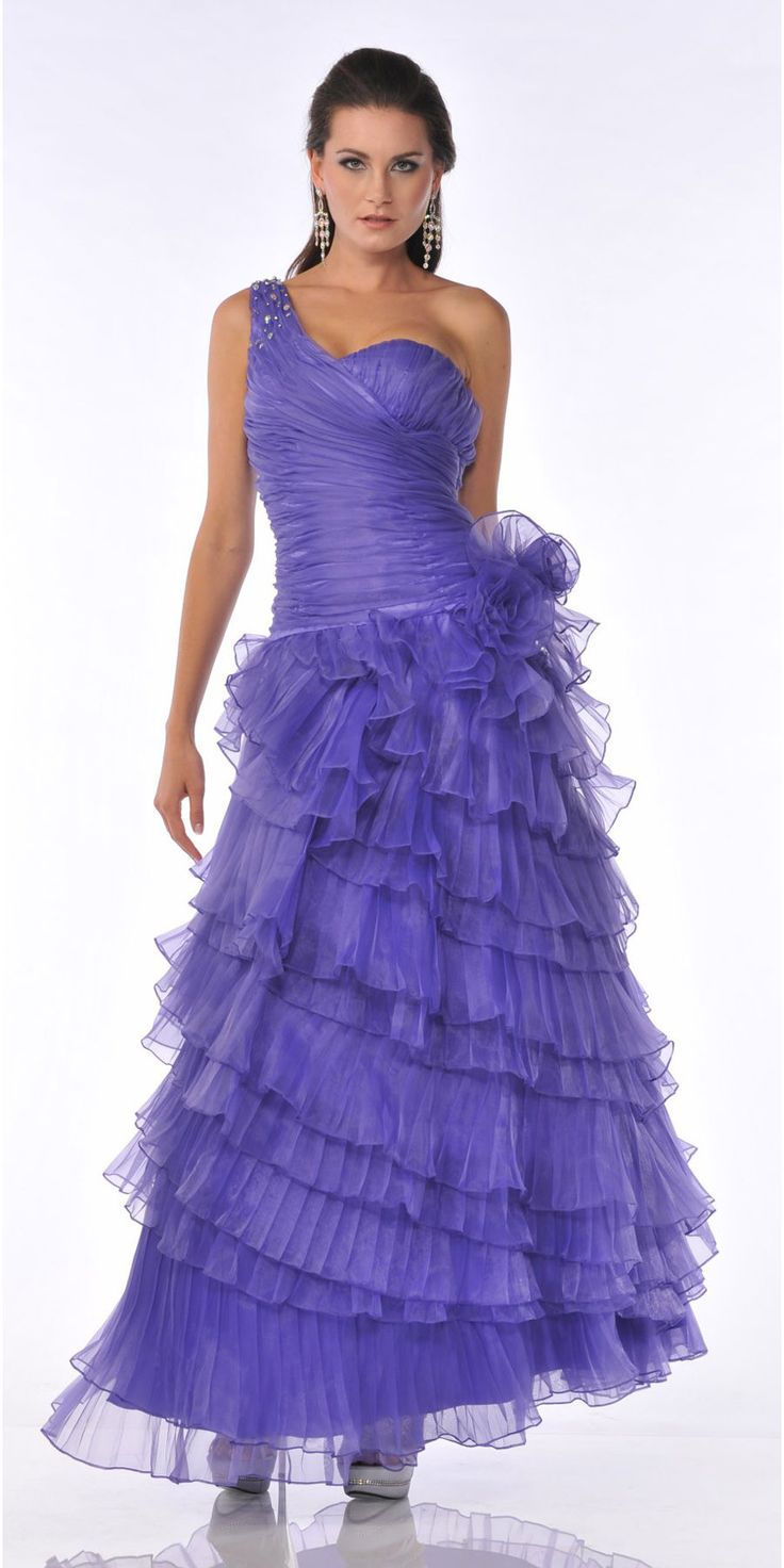CLEARANCE - Rhinestone One Shoulder Strap Ruched Layered Purple Formal Dress
