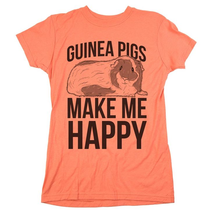 """What's not to love about guinea pigs? They're cute, cuddly, and make those adorable squeaking noises! You don't have to own a guinea pig to wear our """"Guinea Pigs Make Me Happy"""" t-shirt, as long as gui"""