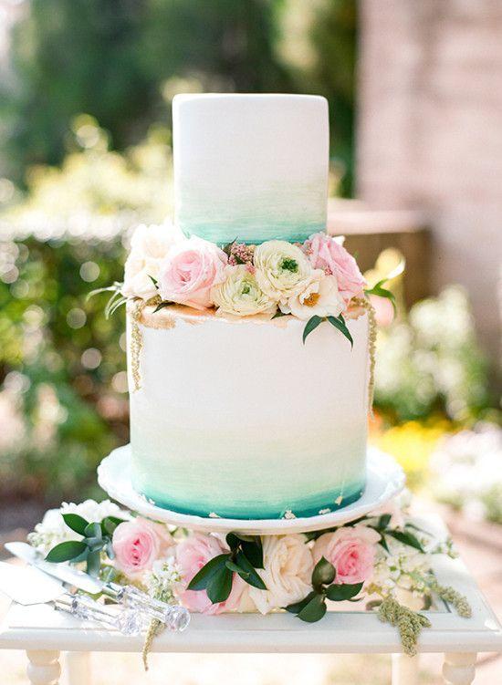 teal and gold watercolor wedding cake  Deer Pearl Flowers