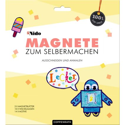 Magnete kaufen ist doch langweilig. Lieber selbst kreativ werden und eigene Ideen basteln! Die Magnetblätter können je nach Lust und Laune mit Filz-, Bunt