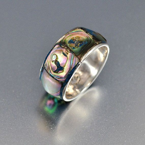 Vintage Sterling Silver Abalone Band Taxco Ring Mexico