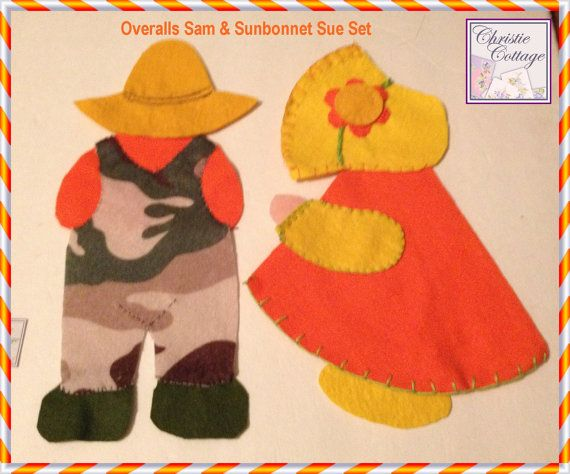 Sunbonnet Sue and Overalls Sam Set Appliques Handamde #bmecountdown