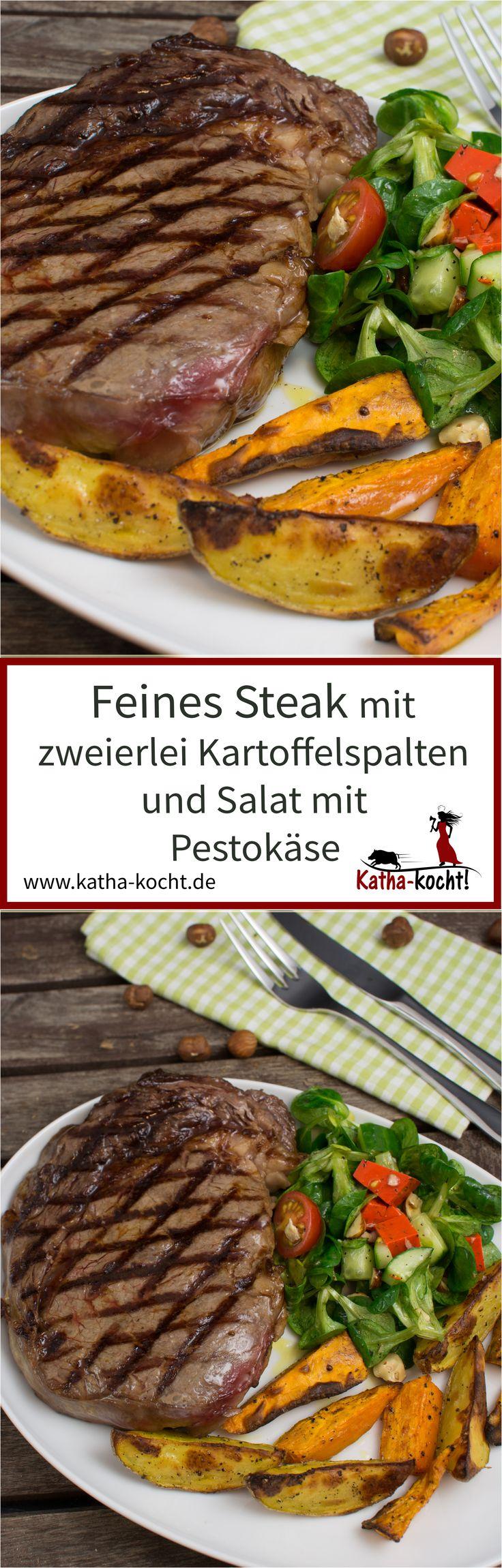 """Zu einem feinen Steak gehören auch ein paar tolle Beilagen - zum Beispiel bunte Kartoffelspalten mit """"normalen"""" Kartoffeln und Süßkartoffeln und ein schneller, frischer Salat mit rotem Pestokäse. Das Rezept gibt es auf katha-kocht!"""
