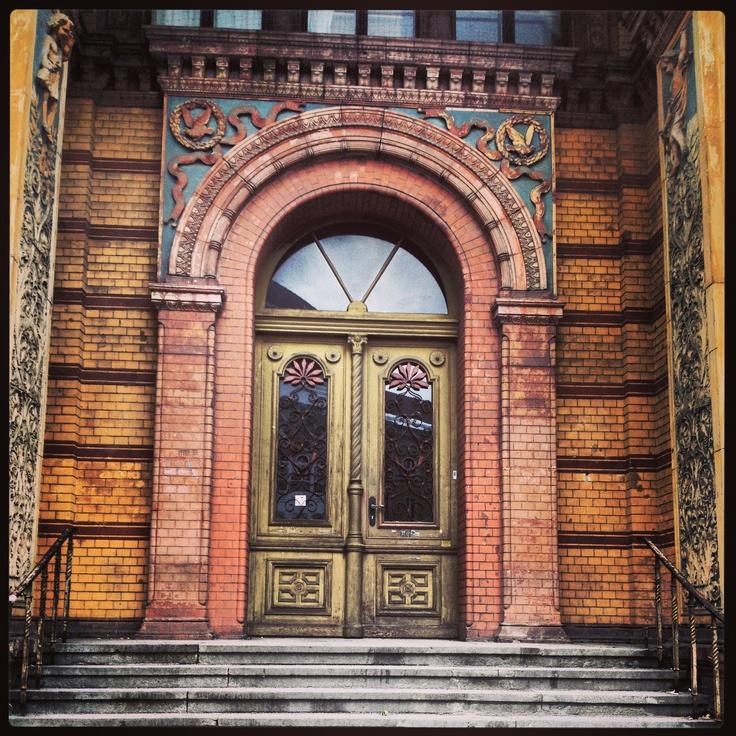 Classic old door on brick building in berlin germany door for Classic building design