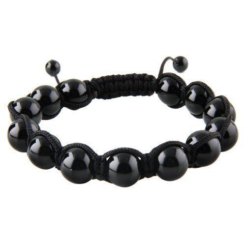 Macrame-Stone Bead Bracelet - Shinny Onyx w/ Black String - Size:10mm JewelryVolt. $9.75